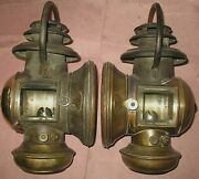 Pair Nice 1907-11 Corcoran Brass Sidelamps Buick Model T Ford Reo Oldsmobile