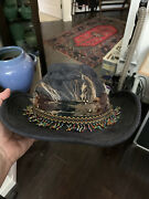 Vtg Studio Kokin 100 Blue Denim Fedora Hat Feather And Seed Bead Trim Rock And Roll