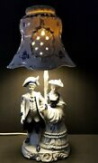 Vtg Porcelian Victorian Couple Blue And White Delft And Shade 20 Lamp See Notes