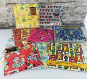 Lot 29 Vintage Wrapping Paper Sheets Baby Shower Wedding Floral Birthday Clown