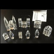 9pc Lot Crystal Village City Buildings Cathedral House And Poplar Trees
