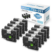 100pk Label Maker Tape Compatible Tze-231 12mm For Brother P-touch Pt-d200 1280