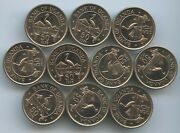 Gs611 - Uganda 10 Coins Lot 50 Cents 1976 Km4a Xf+ Scarce Year Type