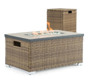Fire Pit Table Wicker Ceramic Top Patio Heater Side Table Tank Cover Brown Large