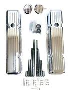 Small Block Chevy Chrome Aluminum Milled Valve Covers + Wire Looms Breather Pcv