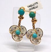 Antique Gold Earrings 18kt And Diamonds Turquoise Classic 1940 Vintage Art Deco