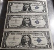 Lot Of 3 One Dollar Silver Certificates - Blue Seal