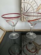 Art Deco Set 2 Large Martini Cocktail Glasses With Red Rim And Large Red Swirl