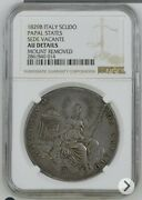 1829-b Italian States Papal States Scudo Silver Coin Sede Vacante Ngc Au-details