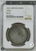 1822 Great Britain Crown Silver Coin Tertio George Iv Ngc Vf-25