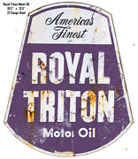 Vintage Sign Royal Triton Motor Oil Reproduction Laser Cut Out Sign 18.5x21.5