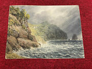 Exceptional Watercolor Torquay Island 1837 Signed And Dated Landscape Storm