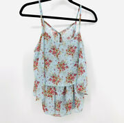 Anthropologie Paper Crane Floral Ruffle Kimono Flounce Top Blue Tiered Poly Med
