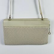 Whiting And Davis Womens Evening Bag White Sequin Mesh Clutch Classic Vintage