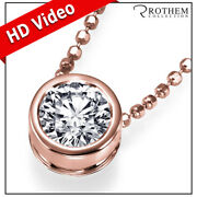 1.00 Carat Diamond Pendant Necklace Solitaire Rose Gold 14k Real I2 24352890