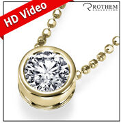 1.01 Carat Diamond Pendant Necklace Solitaire Yellow Gold 14k Real I2 24251735