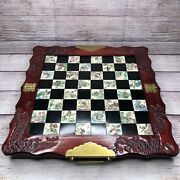 Vintage Asian Chinese Japanese Carved Chess Set Dragon Wood Inlaid Tile Foldable