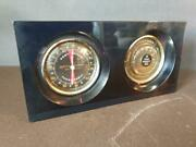 Vintage Mid Century Rototherm Desk Thermometer And Hygrometer In Blue Acrylic Case