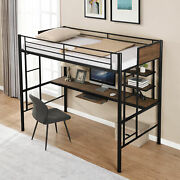 Twin Size Loft Bed With Desk And Shelf Bunk Bed For Space Saving Bedroom Design
