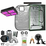 48x48x80 Grow Tent Starter Kit Combo W/ 1200w Led Light And Carbon Filter + Fan