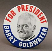 1964 Goldwater For President Giant 6 Pinback Button W/easel Back Z