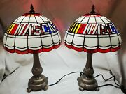 Set Of 2 Nascar Style Stained Glass Lamp Metal Base Shades Nos New Pair