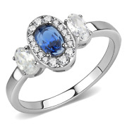 Ladies Sapphire Ring Oval Three Stone Cz Clear Art Deco Stainless Steel New 337