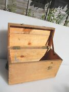 Vintage Wooden Box Trunk Old Wood Iron Straps Tools Antique Chest Ammo 14w