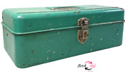 Vintage Usa Liberty Steel Chest Tackle Box 12 W/ Ruler Fish Fishing Tackle