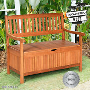 Solid Wood Outdoor Storage Bench Patio Natural 2 Person Seat Garden Wooden Box