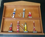 4 Danbury Mint Gas Pump In Set + 3 Texaco Pumps By Gearbox Includes Wooden Case