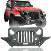 Front Bumper W/ Grille And 2x 18w Led Spotlights For Jeep Wrangler Jl Jt 2018-2021