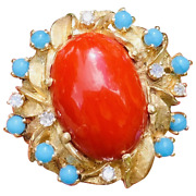Vintage Heavy Free Form Retro Estate 14k Gold Red Coral Turquoise Diamond Ring