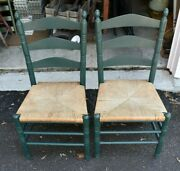 Antique Ladderback Rush Chairs Seat Set Of 2 Dining Chairs Chairs - Local Pickup