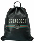 Logo Printed Leather Drawstring Backpack Menand039s Ns