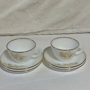 Mcm Federal White Milk Glass Cup And Saucer Gold Wheat And Gold Rims Mid Century
