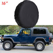 16 Black Heavy Duty Leather Spare Wheel Tire Cover Fit For Jeep Wrangler L Size