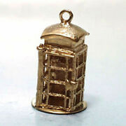 14k Gold Vintage Phone Booth Charm Opens With Phone Inside