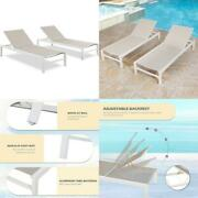 Ulax Furniture Patio Outdoor Aluminum Chaise Lounge Chair Adjustable Lounger Rec