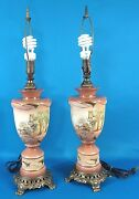 E. Schmidt Painting Victorian Style Porcelain 20 Tall Lamp Set Of 2