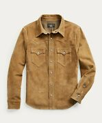 Rrl Tan Suede Western Leather Jacket Overshirt Menand039s Xl Extra-large
