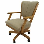 Tobias Designs Classic 37 Wood Caster Dining Chair On Wheels In Beige