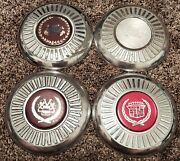 Set Of 4 1980s Cadillac Fwd Appliance Carriage Wire Wheel Center Caps Hubcaps