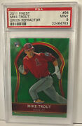 2011 Mike Trout Rc Topps Finest Green Refractor Psa 9 94 154/199 Low Pop.
