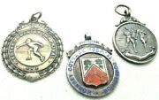 Lot Of 3 Vintage To Antique Sterling Silver English Albert Watch Fobs 34+ Grams