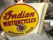 Collectible 2-sided 1940`s Indian Motorcycle Large Flanged Sign