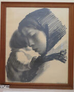 Lithography Vintage Signed Sikker Hansen Portrait Painting Mother And Child R108