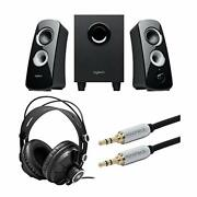 Logitech Speaker System Z323 With Subwoofer Bundle With Knox Gear Headphones And