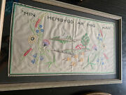 """Vtg Swedish """"my Hometown Is Me"""" Embroidered Tapestry, Wall Hanging 27.5x17"""""""