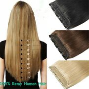 220g One Hairpiece Double Weft Clip In Real Human Hair Extensions 5clips On Wrap
